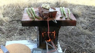 Salt Slab Reverse Sear New York Steak Over A Wood Fired Firebox Stove