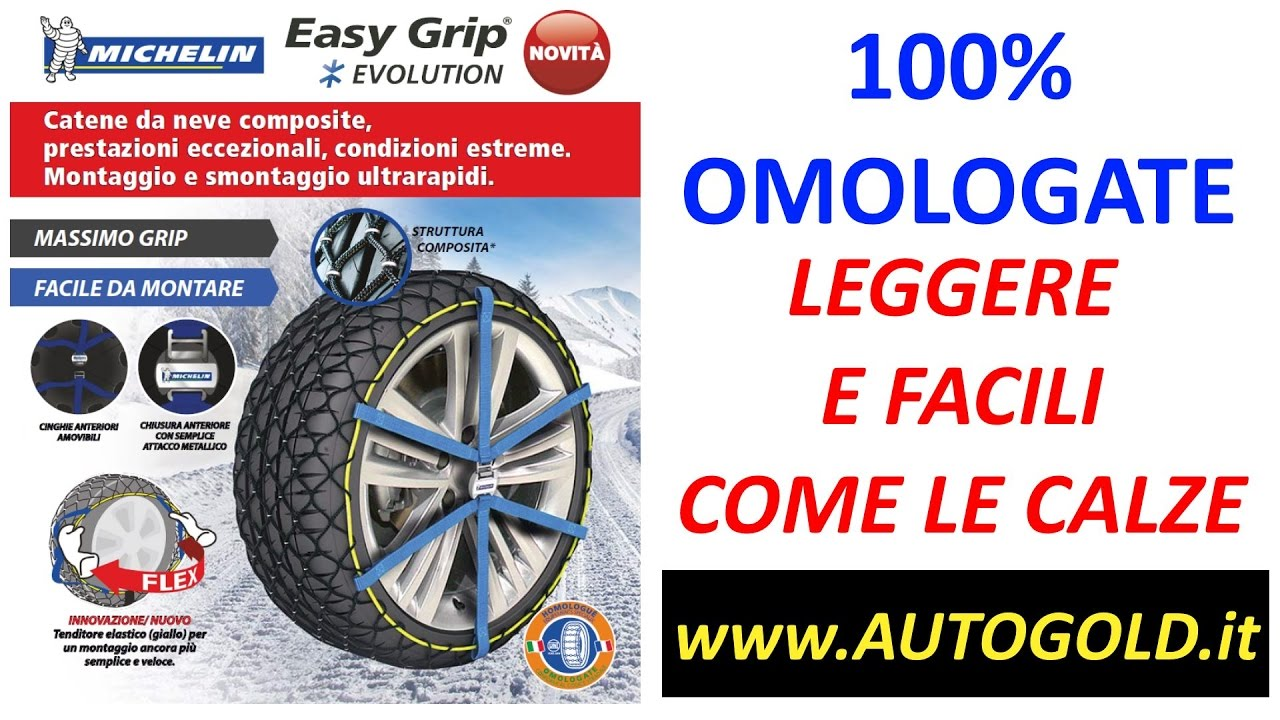 michelin easy grip evolution catene da neve come calze youtube. Black Bedroom Furniture Sets. Home Design Ideas