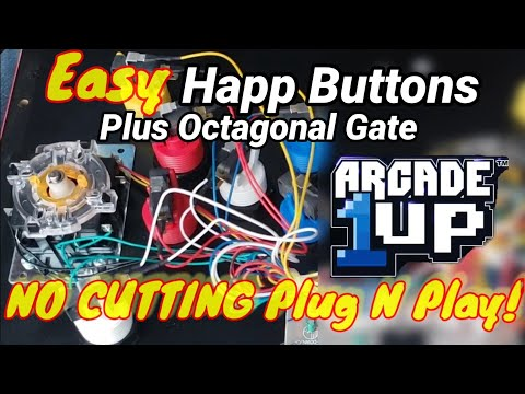 EASY Happ Buttons + 8-Way Gate Arcade1up Plug-N-Play No Cutting or Crimping! from Show-Me Retro