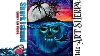Skull Island step by step Beginners Acrylic painting tutorial #SharkWeek #SharkWeek2017