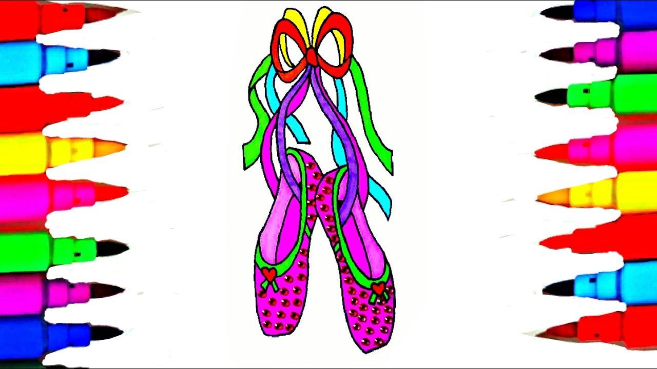 Ballet Shoes Coloring Pages l Kids Coloring Books l Drawing Videos ...