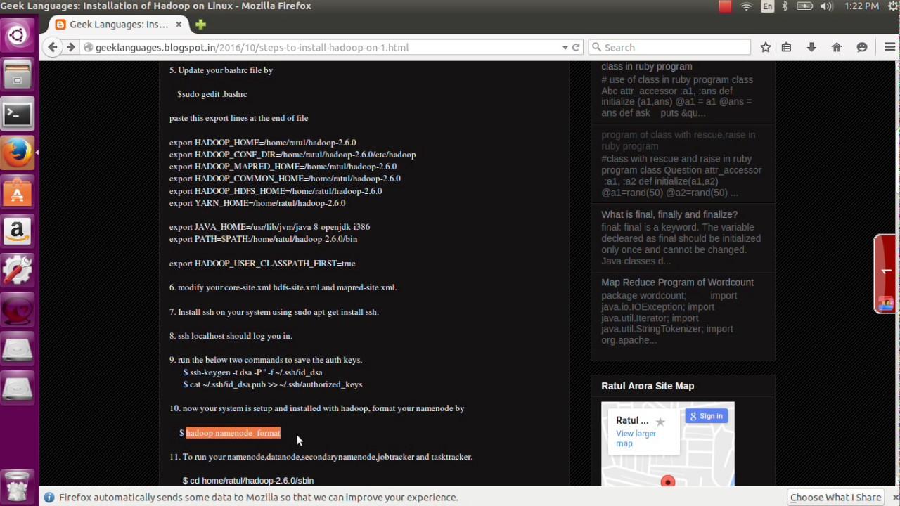 Installation of hadoop on linux