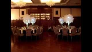 White Ostrich Feathers with White Orchids and Hanging Crystals at the Razag Ballroom Brooklyn NY