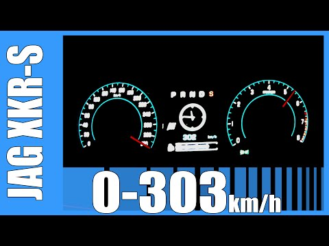 0-303 km/h: 550 HP Jaguar XKR-S 5.0 V8 Supercharged BRUTAL! Acceleration & Top Speed Run