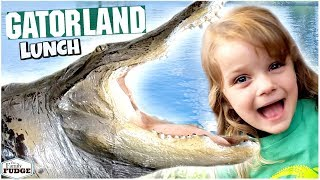 KIDS Zip Line Over LIVE ALLIGATORS 😱 GATORLAND + FUN Lunch Idea