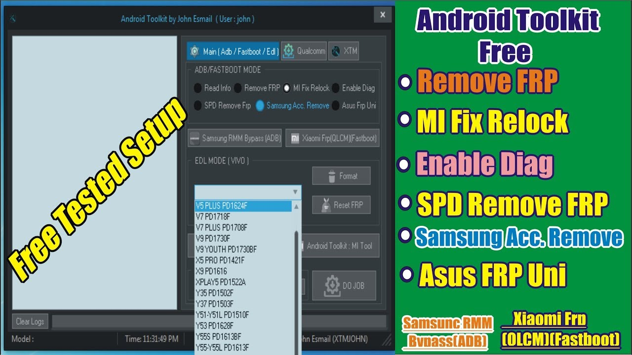 Android Toolkit 2019 Remove FRP | Samsung | mi | xiaomi | spd | asus Tool  Free