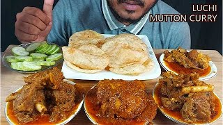 massive mutton curry ,chicken curry and puri/luchi eating with salad-spicy mukbang Indian Foodeating
