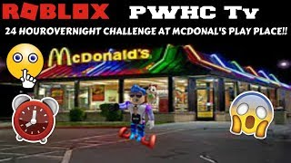 24 HOURS AT MCDONALD'S PLAY PLACE ROBLOX p2. E3.!! * sneaking around *