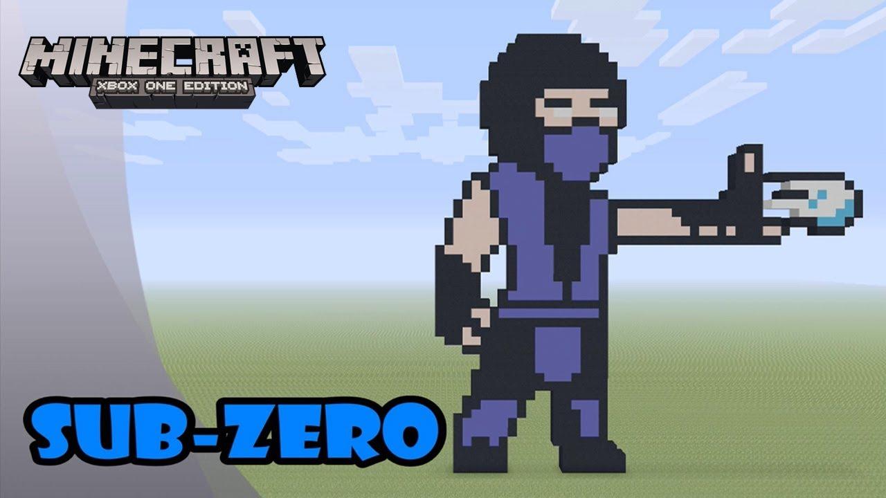 Minecraft: Pixel Art Tutorial and Showcase: Sub-Zero (Mortal Kombat)