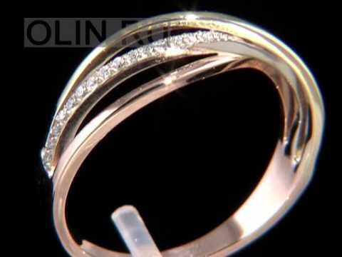 Кольцо из золота с керамической вставкой и фианитами