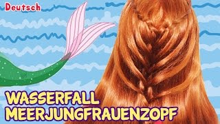 German Style: Waterfall Twist Mermaid Braid | Wasserfall Meerjungfrauenzopf | Deutsch Stil