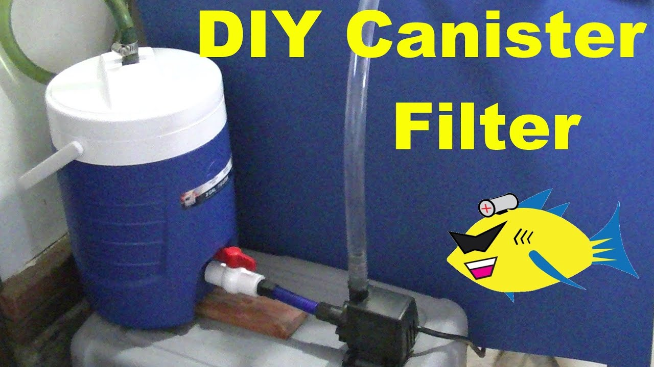 How to make diy canister filter aquarium filter for Diy pond filter bucket