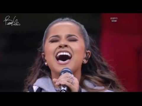 Becky G sings the National Anthem on Monday Night Football at the Estadio Azteca in México City