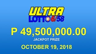 PCSO Ultra Lotto 6/58 Result October 19, 2018 - Lotto Results Today