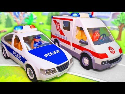 Мультик про машинки плеймобил. Полицейская машинка и скорая помощь. Видео для детей с игрушками 2019