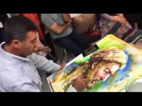 Watercolor Portrait Paintinp Demonstration in Iran - Artist Atanur DOĞAN - Canada & Turkey