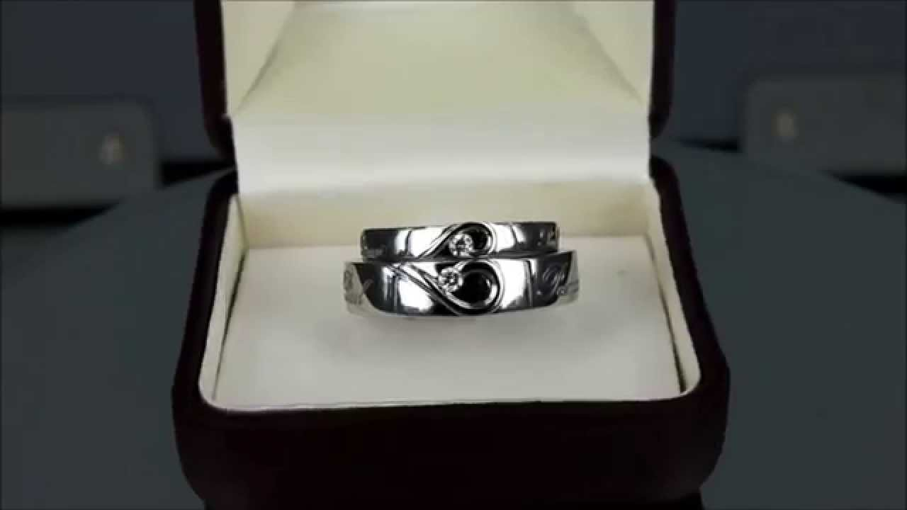 Couples His Her Matching Heart Shape Wedding Bands 18K White Gold Made In Bangkok Thailand