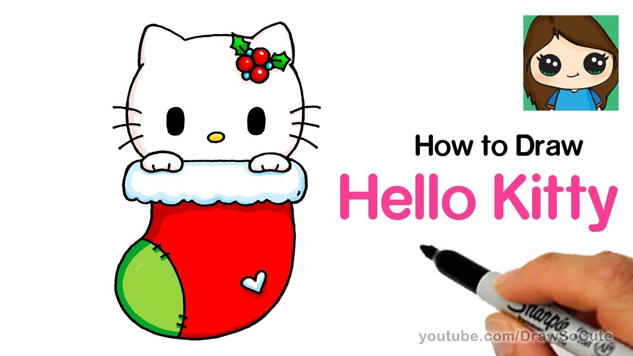 Drawings Of Christmas Stockings.How To Draw Hello Kitty Christmas Stocking Easy