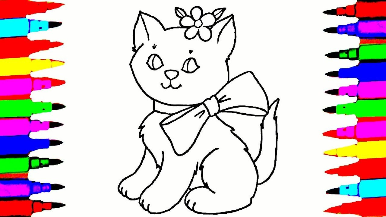 Cat Drawing And Coloring Videos For Children L Cute With A Bow Pages Teach