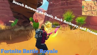 Search Between An Oasis Rock Archway And Dinosaurs Star Battle Location Fortnite Battle