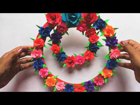 Paper Rose Wall Hanging - Room Decorating Ideas Simple - Paper Craft Wall Decoration Easy