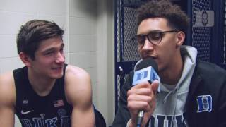 DBP: Chase Jeter with Grayson Allen after the win at Notre Dame (1/30/17)