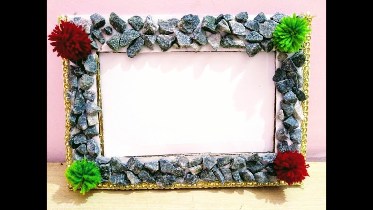How to make photo frame from crushed stone or pom pom/DIY/ Teni ...