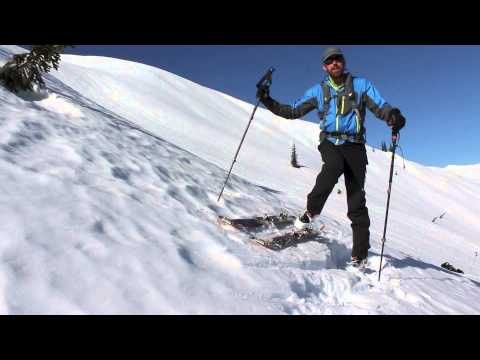 Backcountry skiing tip - How to put your skis on when on a steep slope