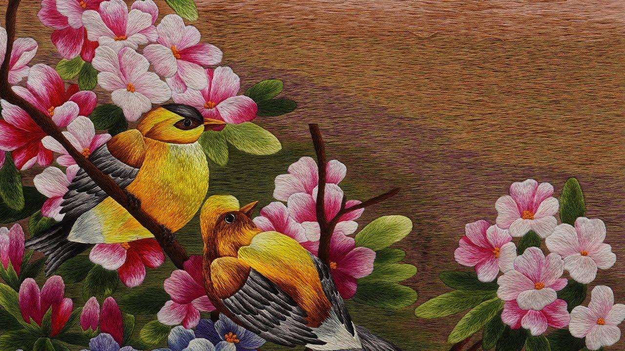 Hand Embroidery [At Home] - Birds vs Peach Blossoms Embroidery // Bordado a mano // تطريز يدوي