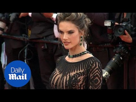 Alessandra Ambrosio smoulders in sheer black gown at Cannes 2018 - Daily Mail