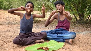 Amazing !!! Village Young Boys Cooking and Eating Chicken Leg Piece Fry | Wild Food