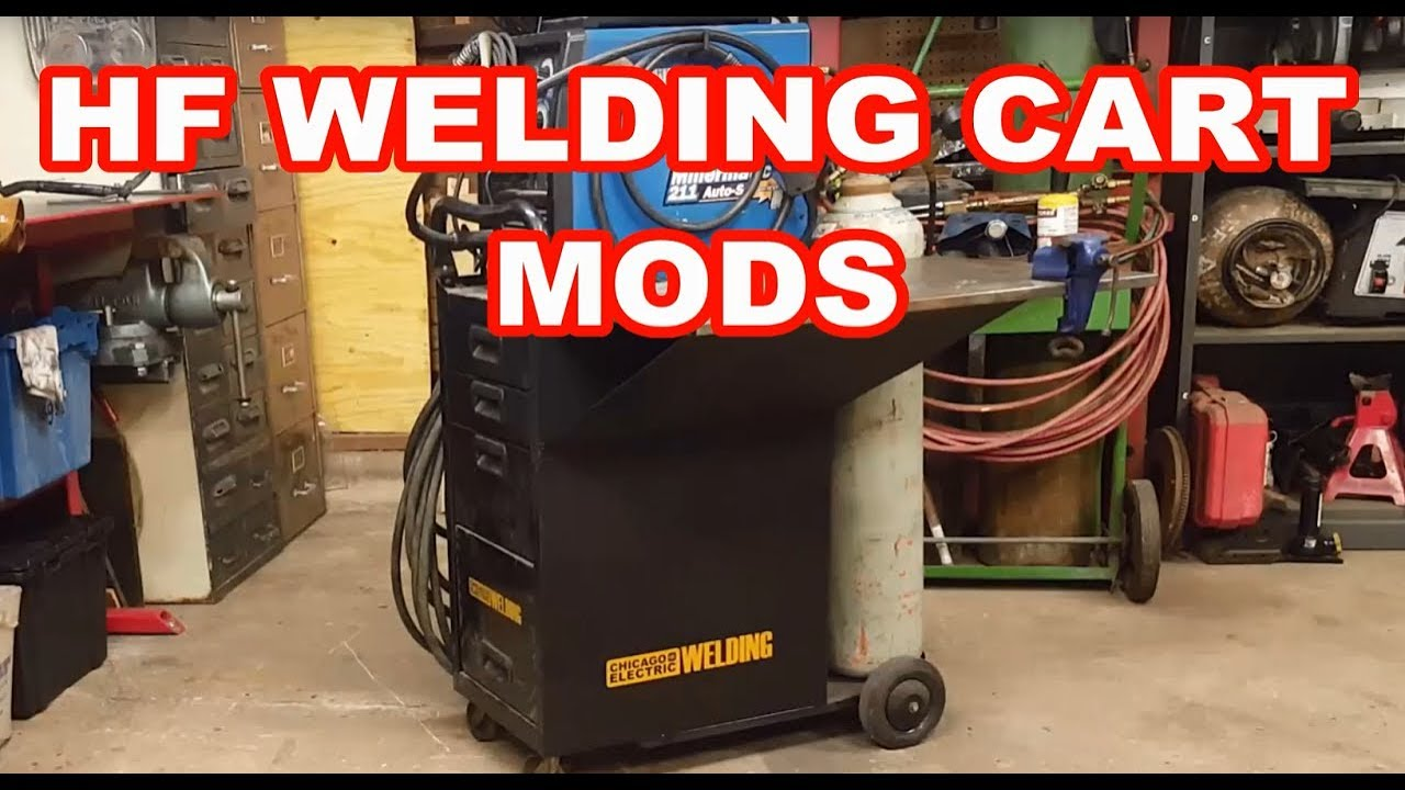 Harbor Freight Welding cart mods/review Chicago Electric Shelf modification  HF CABINET