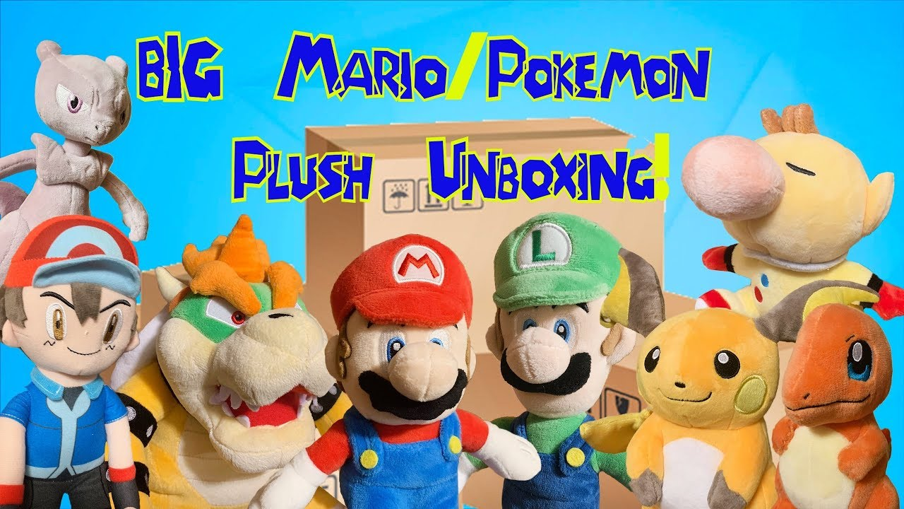 Really Big Mario Pokemon Plush Unboxing Youtube