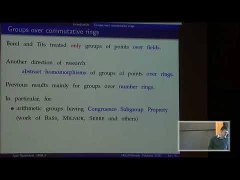 Abstract homomorphisms of algebraic groups and applications - Igor Rapinchuk
