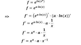 Udledning  Differentialkvotient til x i a'te  Potensfunktion