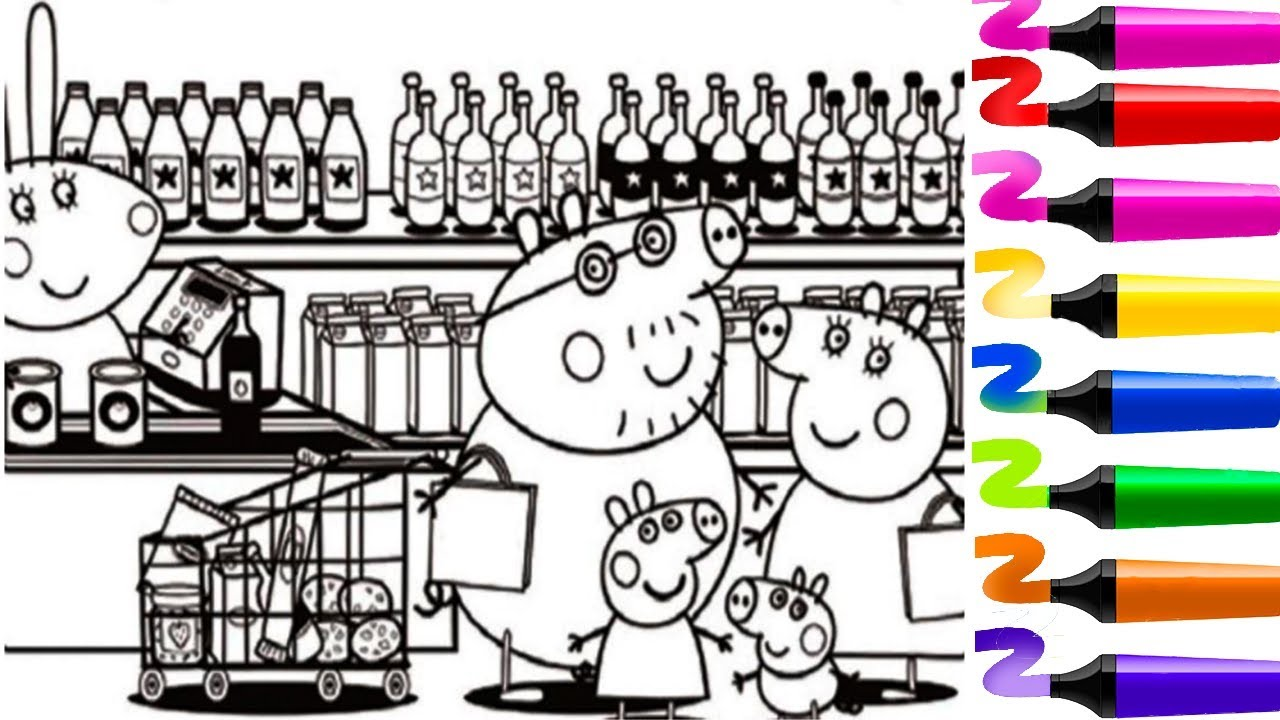 Magic Coloring Peppa Pig And His Family Coloring Peppa Pig And His Family Easy Drawing