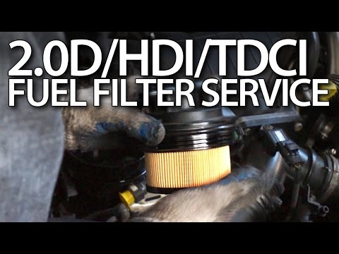 how to change fuel filter in volvo 2 0d ford 2 0tdci peugeot 2 0hdi 136ps  citroen - youtube