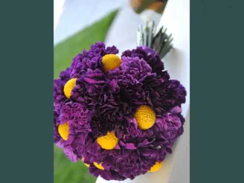 Picture Combination Of Beautiful And Lovely Flowers   Dark Purple Carnation Bouquet