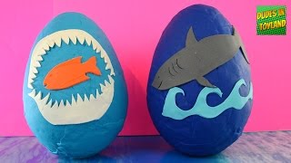 Shark toys GIANT surprise play doh eggs! SHARK WEEK Playdough egg toy videos for children