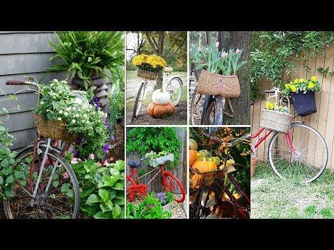 Bicycle Planter Ideas   Bike Flower Garden Decoration Creative Ideas   Upcycling Bikes in Garden