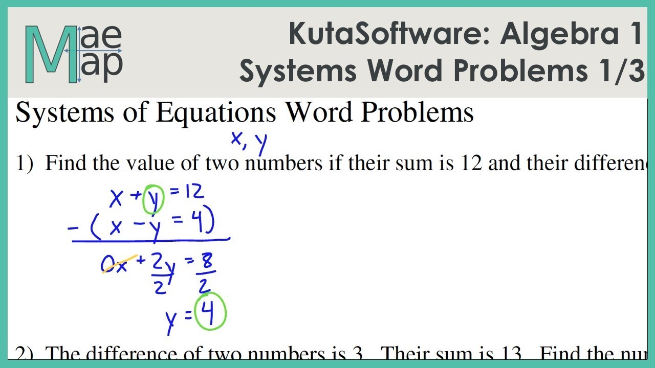 Kutasoftware Algebra 1 Systems Of Equations Word Problems Part 1 Youtube