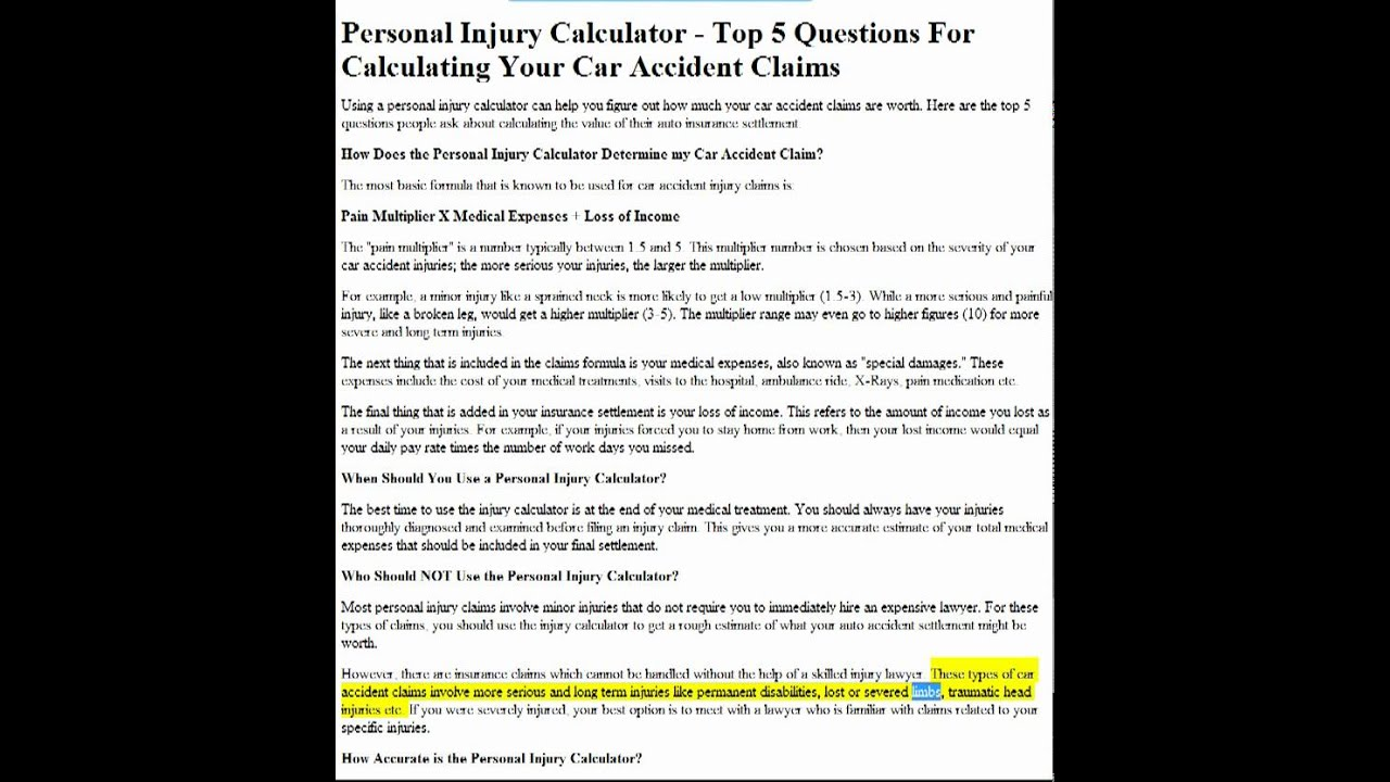 personal injury calculator top 5 questions for calculating your car