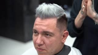 Мужская стрижка spike with low fade с элементами окрашивания