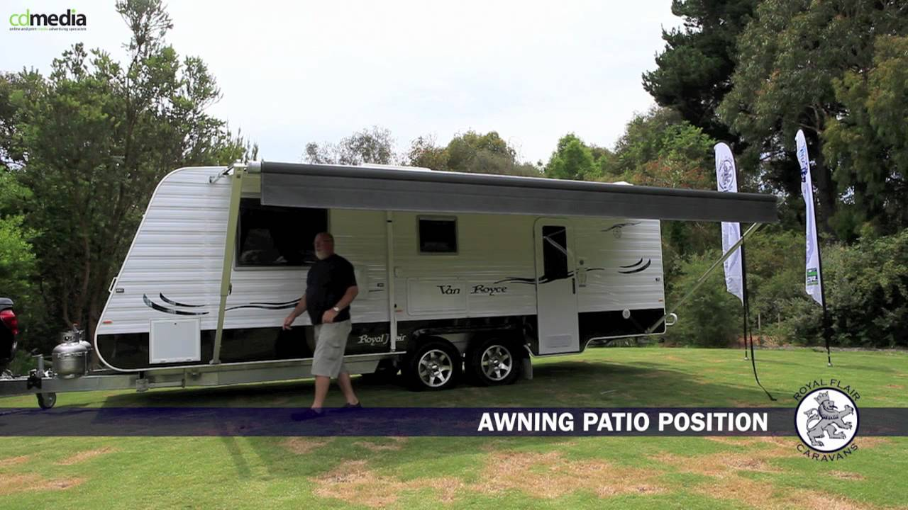 Setting up a caravan roll out awning top tourist parks youtube
