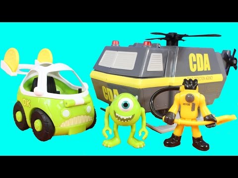 Imaginext Monsters University CDA Child Detection Agency Helicopter Mike & Car Joker Minions