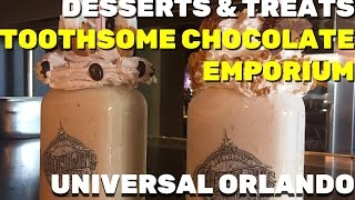 Delectable desserts and milkshakes from Toothsome Chocolate Emporium at Universal Orlando