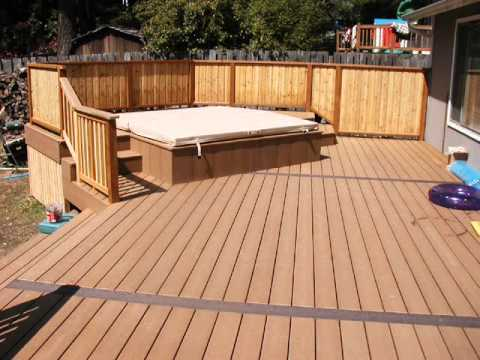 Diy patio composite wood youtube for Non slip composite decking