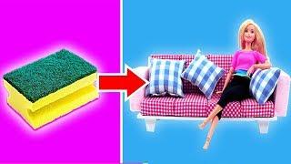 DIY BARBIE HACKS AND CRAFTS: Miniature Barbie Dollhouse Furniture Ideas ~ Sofa