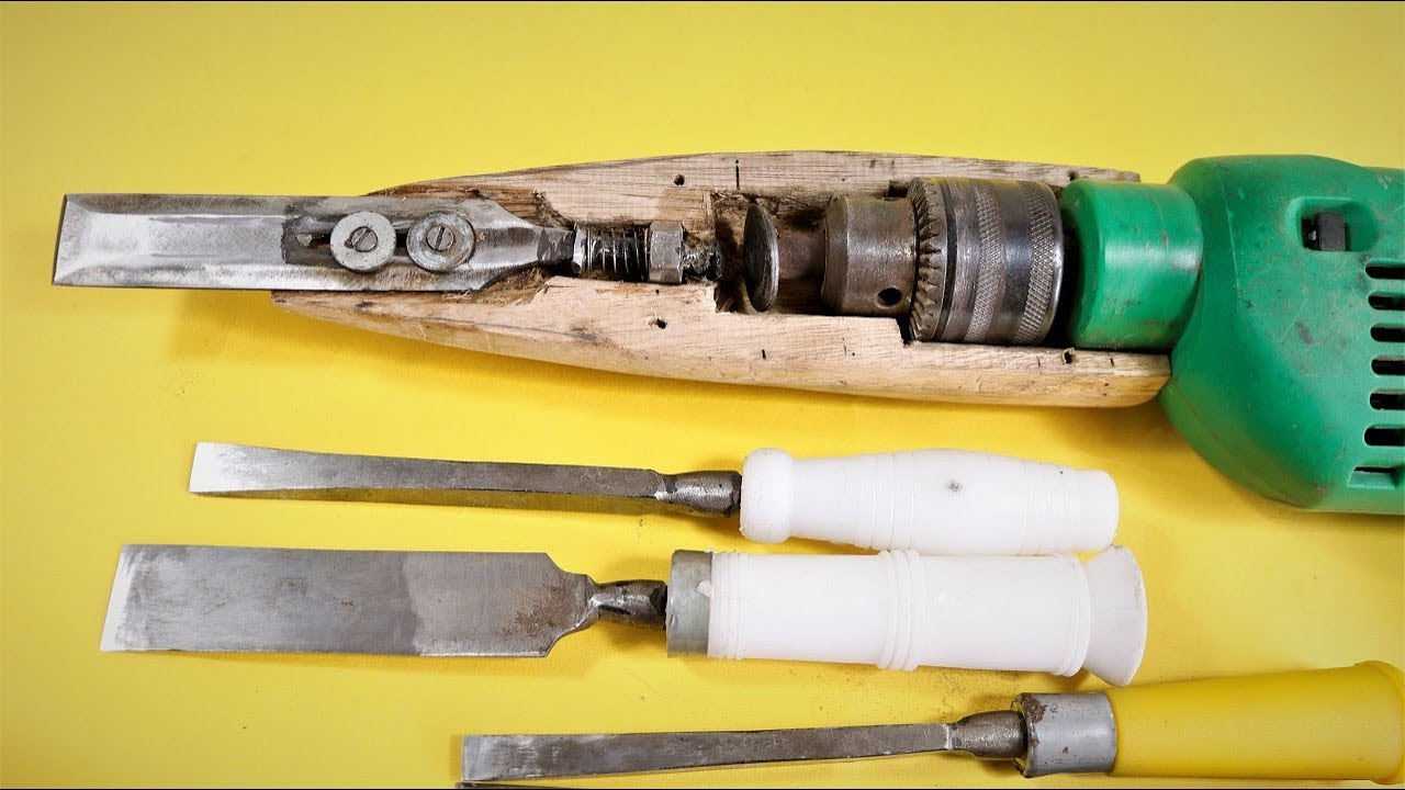 how to make a simple electric power chisel at home .   diy  
