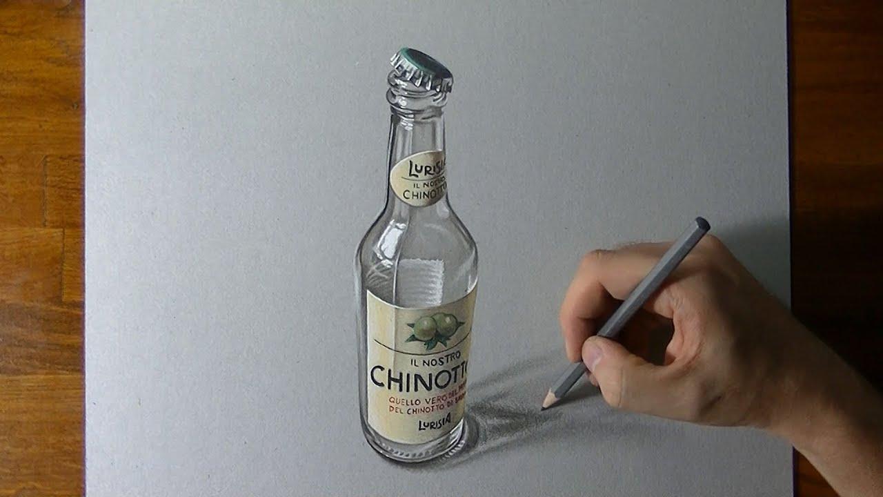 Disegno Realistico In Timelapse Bottiglia Di Chinotto